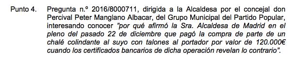 Pregunta del PP a Carmena por su mentira sobre cómo pagó a Almeida. (Clic para ampliar)