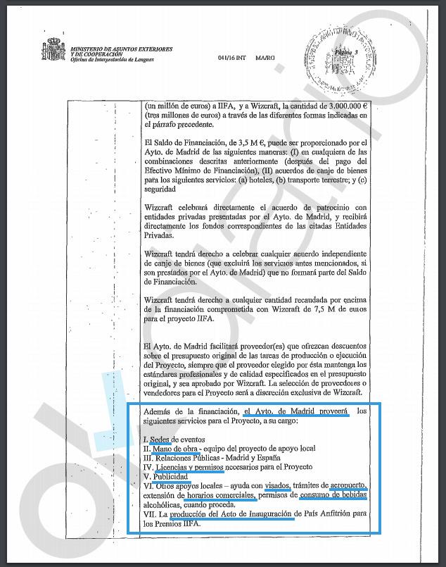Extracto del contrato con las obligaciones del Ayuntamiento. (Clic para ampliar)