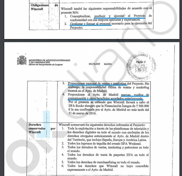 Extracto del contrato con la empresa. (Clic para ampliar)