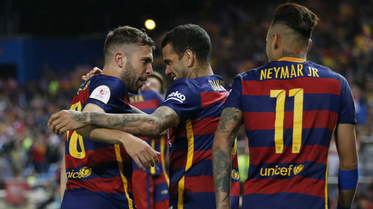 Jordi Alba celebra su gol en la final de Copa. (Reuters)