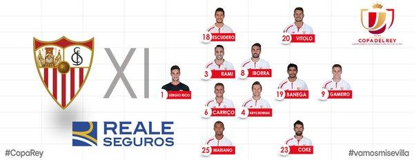 El once titular del Sevilla en la final de Copa.