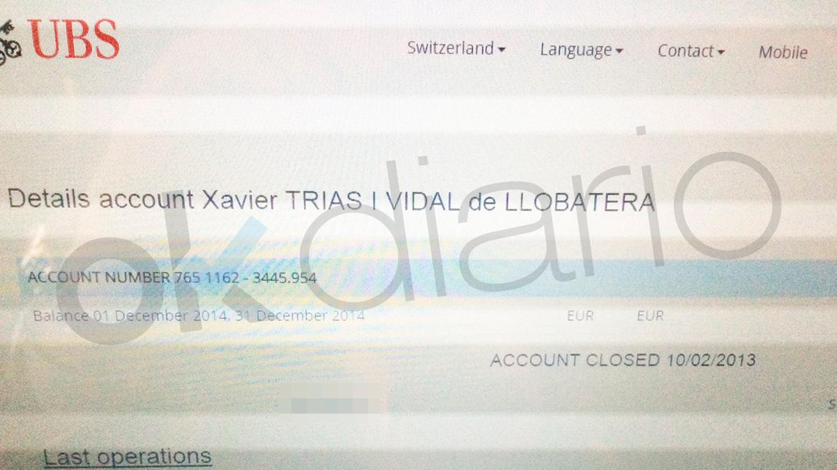 Documento facilitado a la Policía española por un confidente suizo
