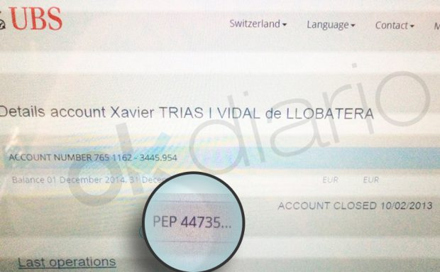 Documento de la banca suiza UBS que identifica a Xavier Trias como Persona Expuesta Políticamente (PEP)