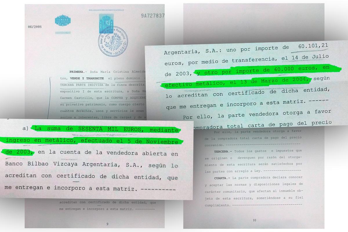 Escritura de Manuela Carmena.