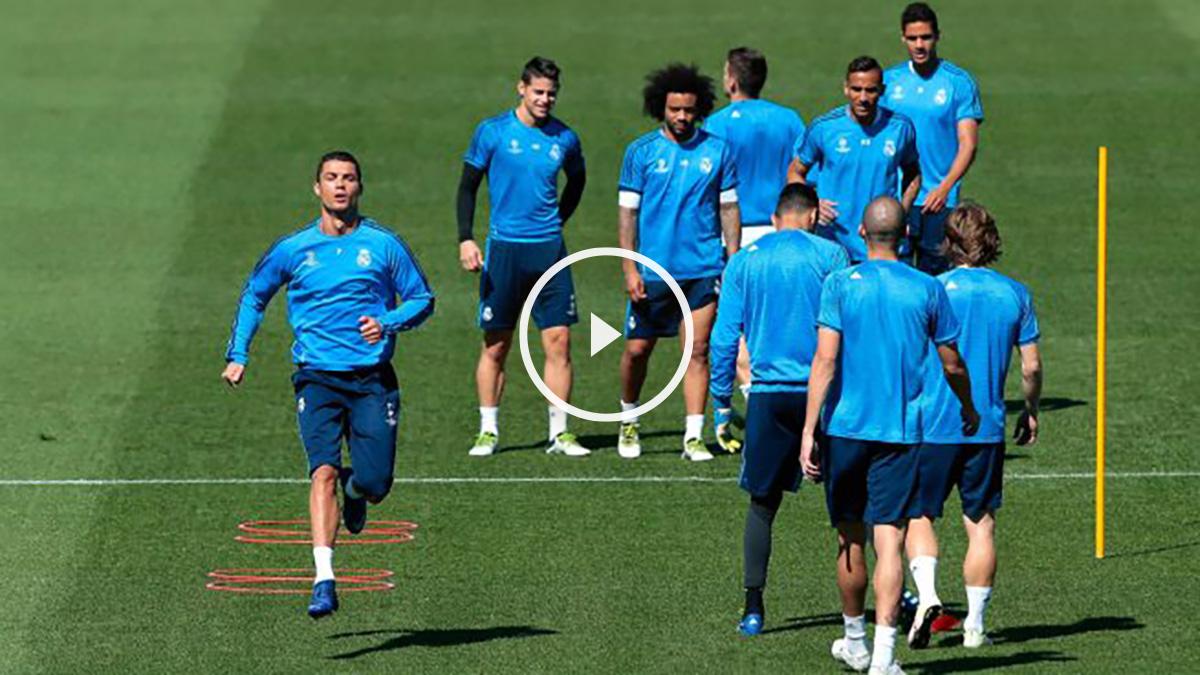 Cristiano Ronaldo en el entrenamiento del Real Madrid
