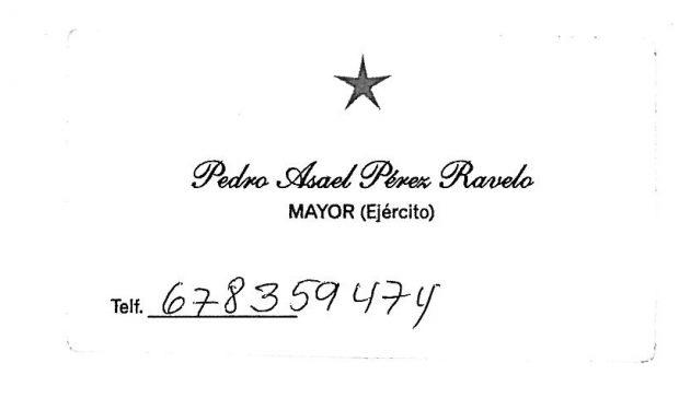Tarjeta de visita del agregado de la embajada de Venezuela Pedro Asael Pérez Ravelo.