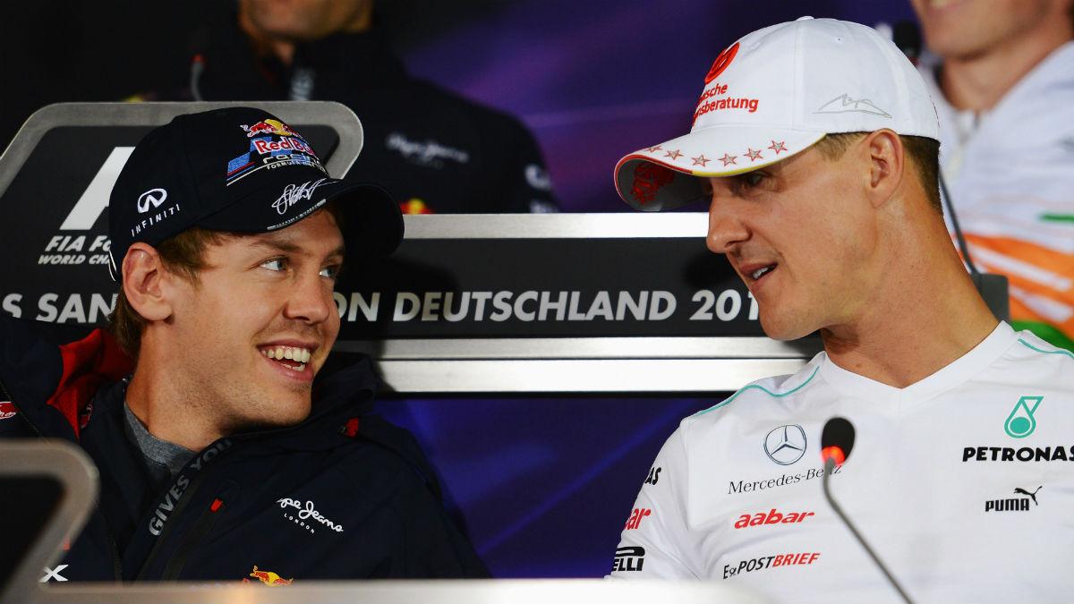 Vettel y Schumacher en una rueda de prensa. (Getty)