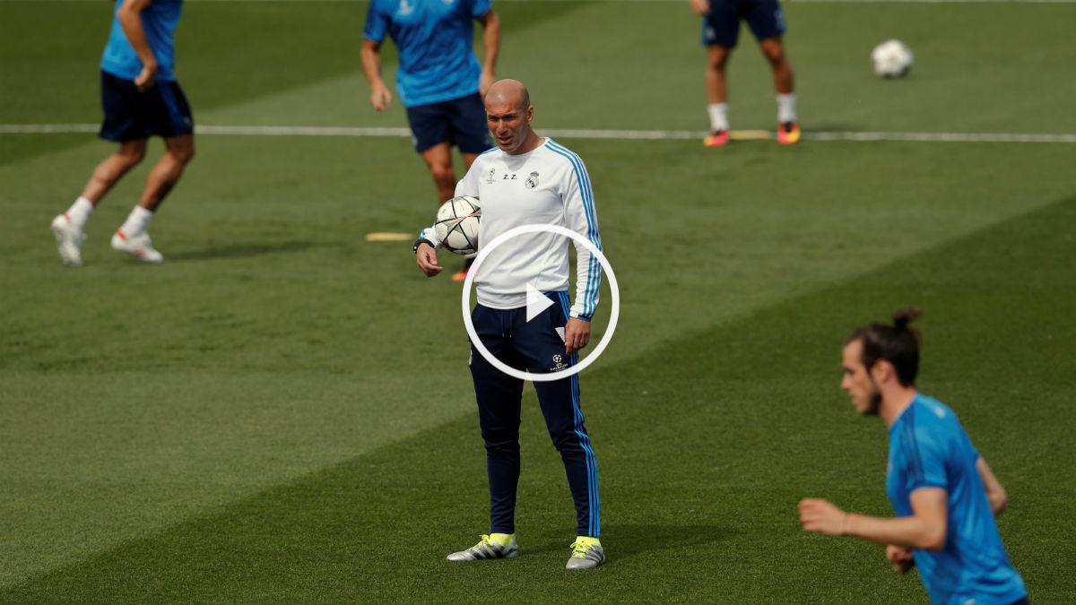 Zidane, en el entrenamiento del Real Madrid. (Reuters)