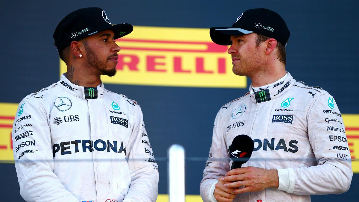 Hamilton y Rosberg en Rusia. (Getty)