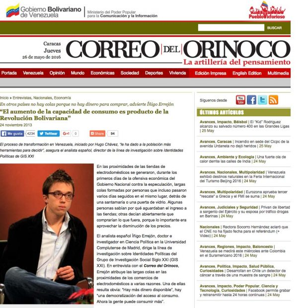 """Íñigo Errejón: """"En Venezuela hay colas porque tienen más dinero para consumir más"""""""