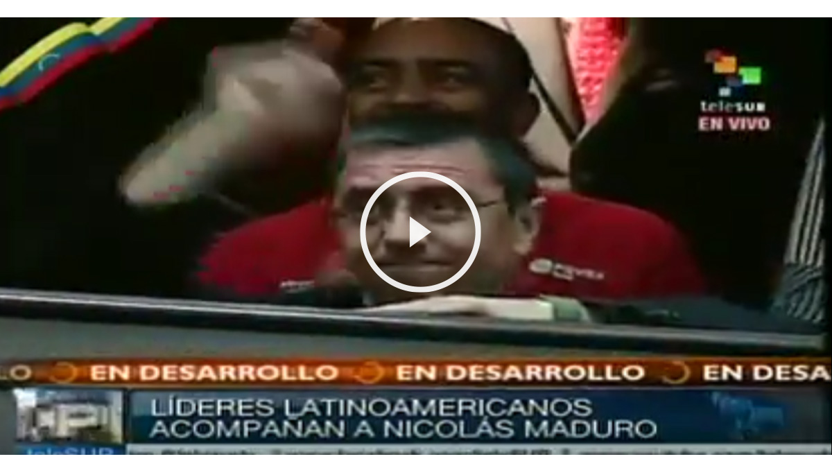 Juan Carlos Monedero, en la tribuna de invitados durante la investidura de Nicolás Maduro como presidente de Venezuela