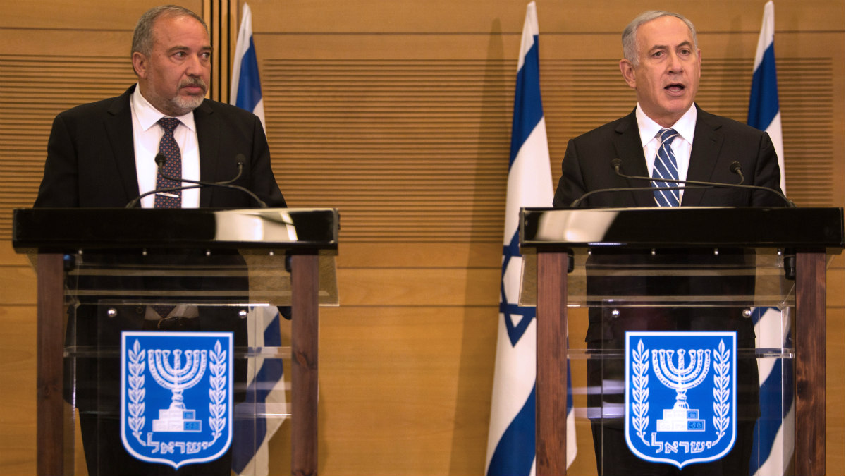 Avigdor Lieberman y Benjamin Netanyahu, en Jerusalén. (AFP)