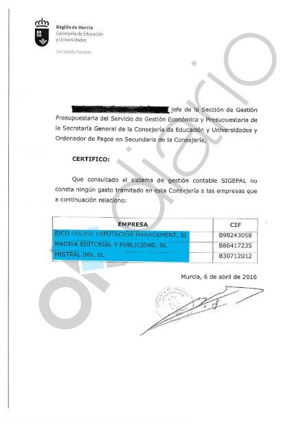 Certificado del Gobierno de Murcia 1.