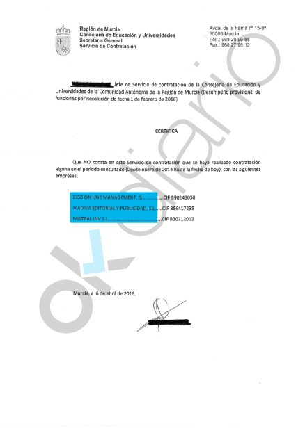 Certificado del Gobierno de Murcia 2.
