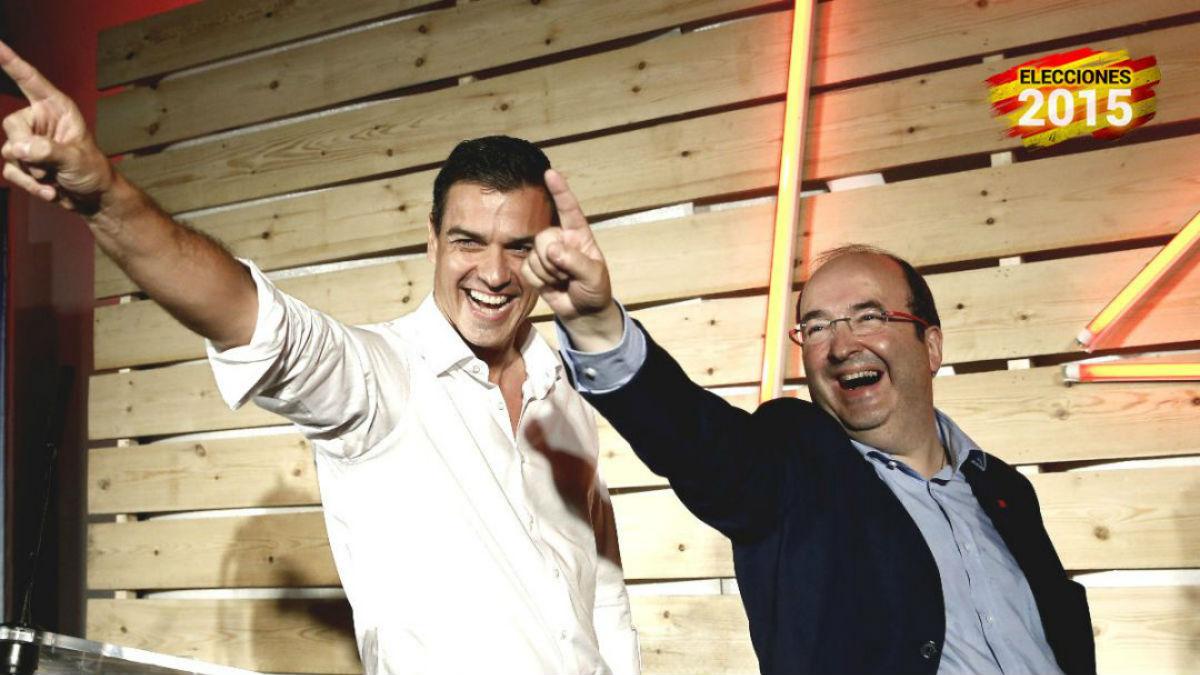 Pedro Sánchez y Miquel Iceta durante un mitin. (Foto: EFE)