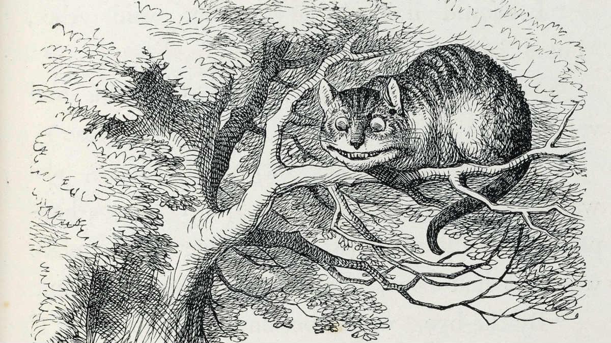 Un dibujo del gato Chesire en la primera edición de Alicia en el país de las maravillas.