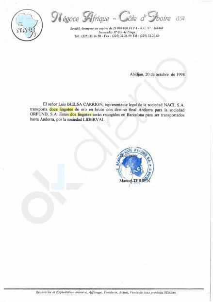 Certificado del envío de lingotes de oro desde Costa de Marfil.