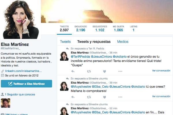 Perfil de Elsa Martínez en la red social Twitter