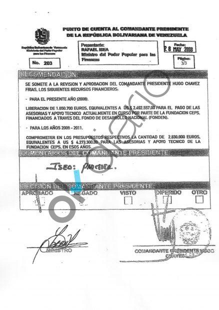 Documento firmado por Hugo Chávez en mayo de 2008, en el que ordena pagar 6,7 millones de dólares a la Fundación CEPS
