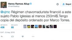 Mensaje difundido por Henry Ramos Allup en la red social Twitter
