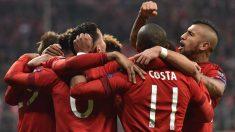 El Bayern celebra un gol en el Allianz Arena. (Getty)