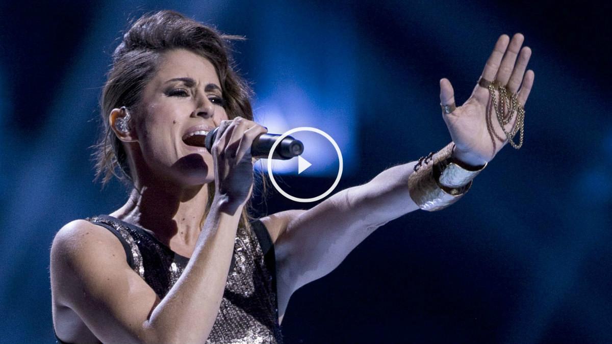 La cantante Barei durante uno de los ensayos oficiales previos a la gala del sábado14 de mayo. (Foto: Getty)