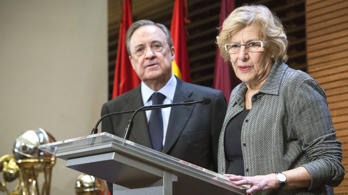 Florentino Pérez y Manuela Carmena (Foto: EFE).
