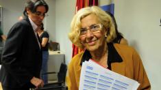 La alcaldesa Carmena y la primera teniente de alcalde, Marta Higueras. (Foto: Madrid)