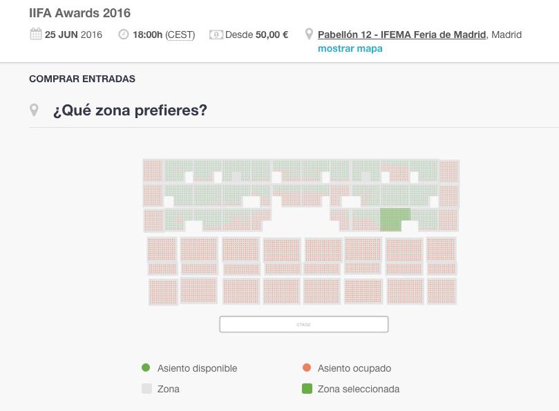 Mapa de la disposición de las localidades de IFEMA, pabellón 12. (Clic para ampliar)
