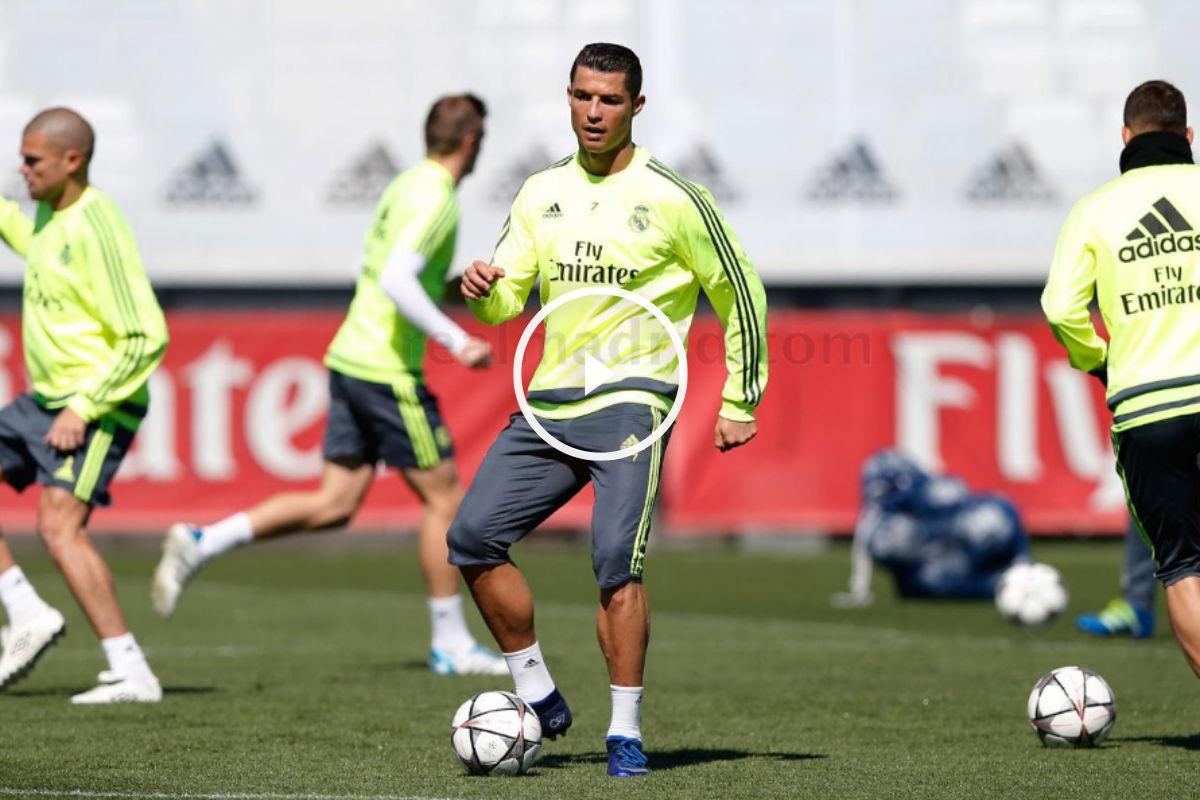 Cristiano Ronaldo tocó balón en el entrenamiento. (Imagen: realmadrid.com)