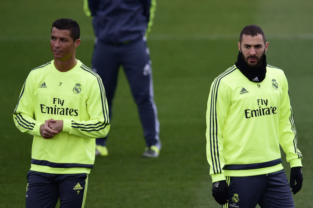 Cristiano y Benzema, en un entrenamiento. (AFP)