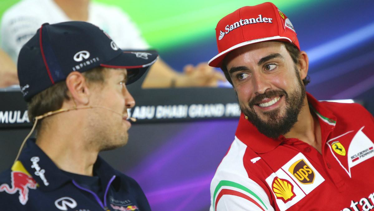 Alonso y Vettel, en una rueda de prensa. AFP