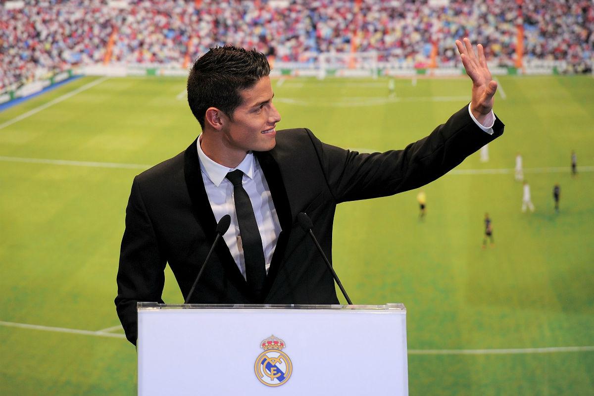 James Rodríguez, el día de su presentación con el Real Madrid. (Getty)