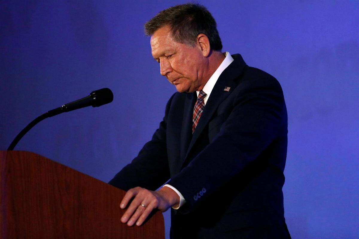 John Kasich, gobernador de Ohio, durante un mitin en Burlingame, California. (Reuters)