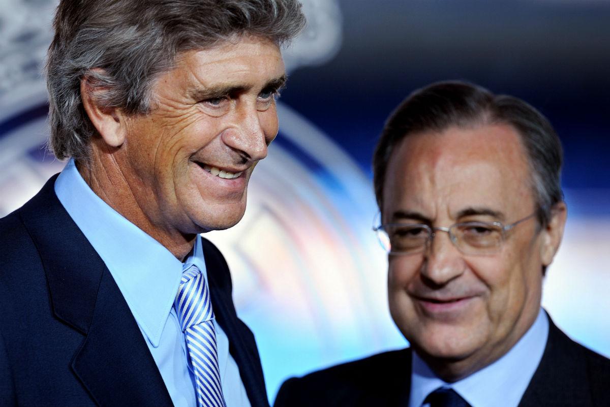 Manuel Pellegrini, con Florentino Pérez el día de su presentación. (Getty)