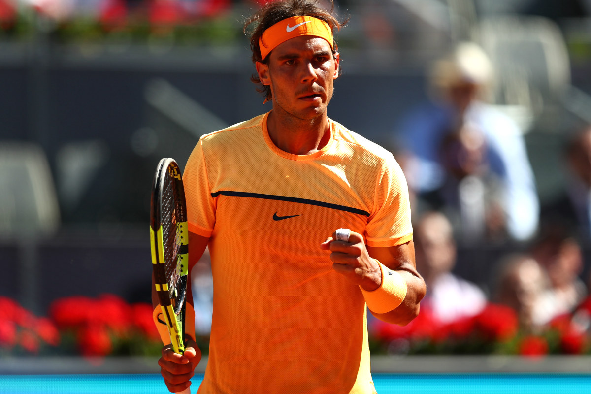 Nadal celebra la victoria ante Kuznetsov en Madrid. (Getty)