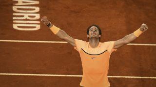 Nadal celebra su victoria ante Sousa en el Mutua Madrid Open. (AFP)