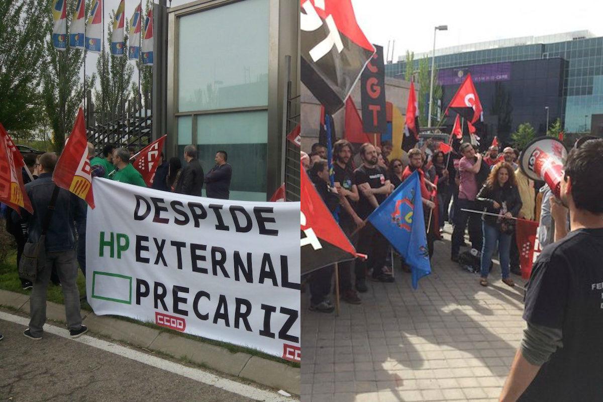 Protestas de los sindicatos contra Hewlett Packard Enterprise (Foto: CCOO y CGT).