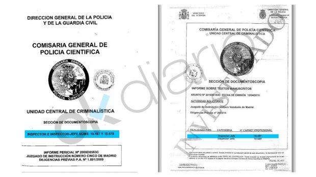 Informe caligráfico del caso de espionaje a González y del caso López Madrid.