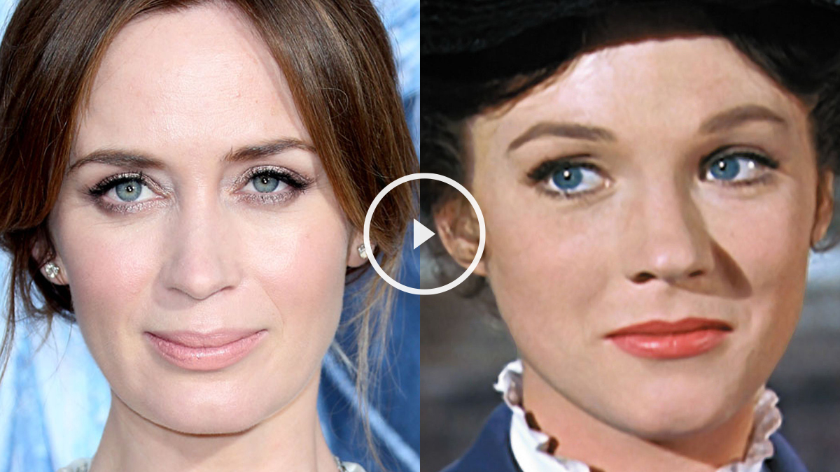 Emily Blunt (AFP) y Julie Andrews como Mary Poppins (Disney).