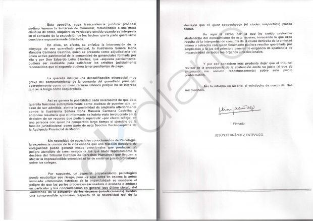 Motivaciones del juez Fernández Entralgo para inhibirse en la causa contra el marido de Carmena.