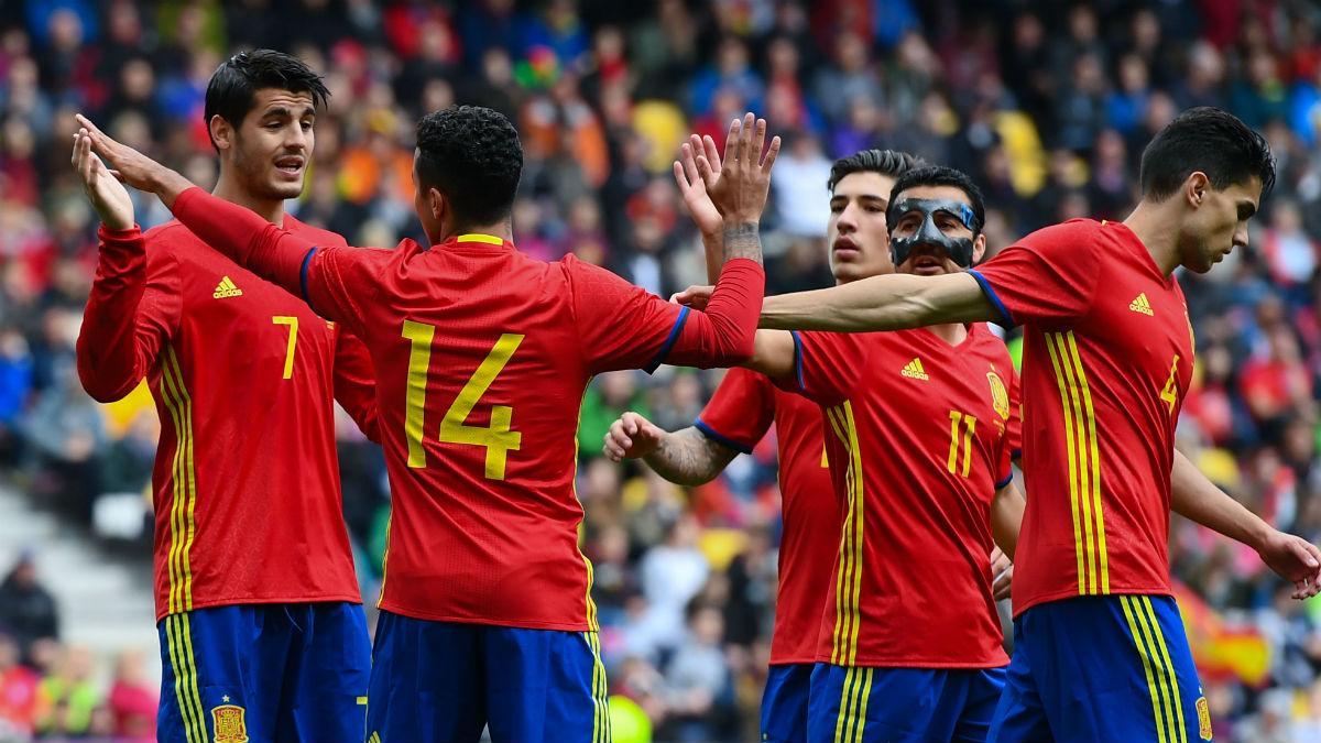 La Selección celebra un gol de Morata. (Getty)