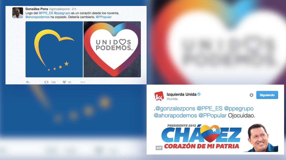 Logo de Unidos Podemos y el de Chávez.