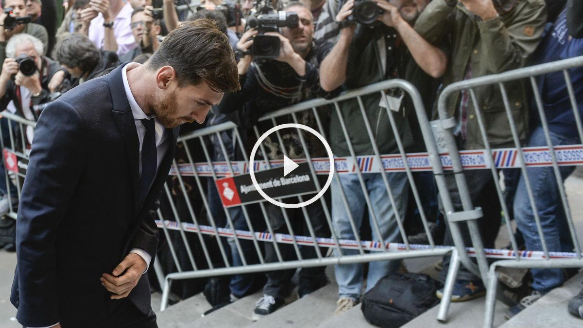 Messi, a su llegada al juzgado. (AFP)