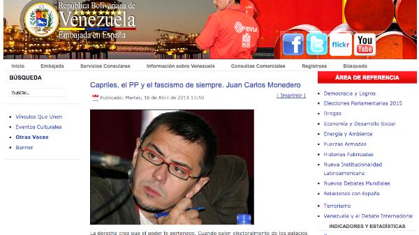 El artículo de Juan Carlos Monedero, publicado en la web del Ministerio de Asuntos Exteriores del Gobierno de Venezuela