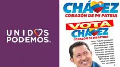 El logo de campaña de Unidos Podemos, junto a los corazones de la campaña presidencial de Hugo Chávez en 0212