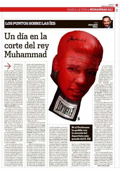 El artículo de Eduardo Inda en el suplemento especial de la entrevista a Muhammad Ali.