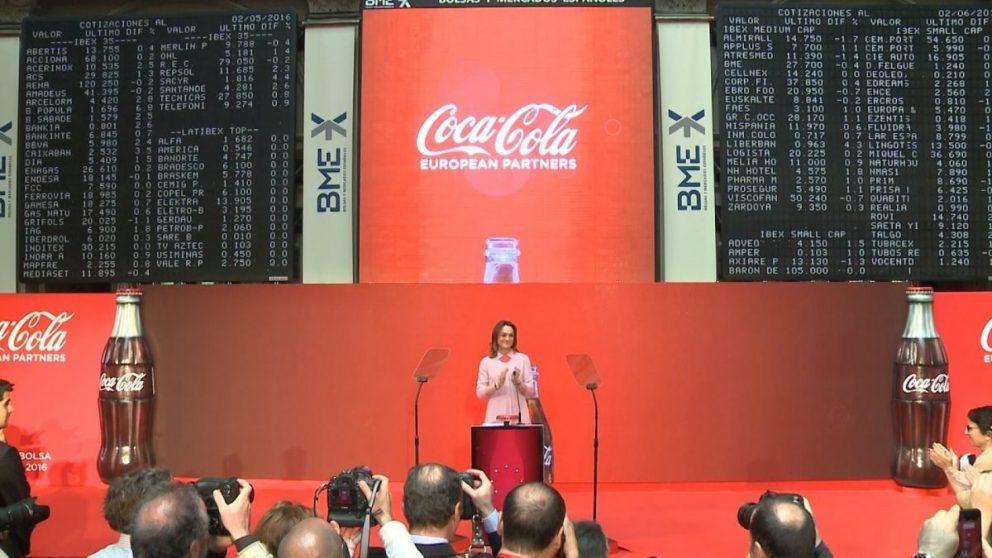 El día del debut de Coca-Cola European Partner en la Bolsa de Madrid