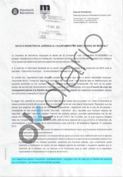 Escrito de la Diputación de Barcelona sobre Marta Pujol Ferrusola.