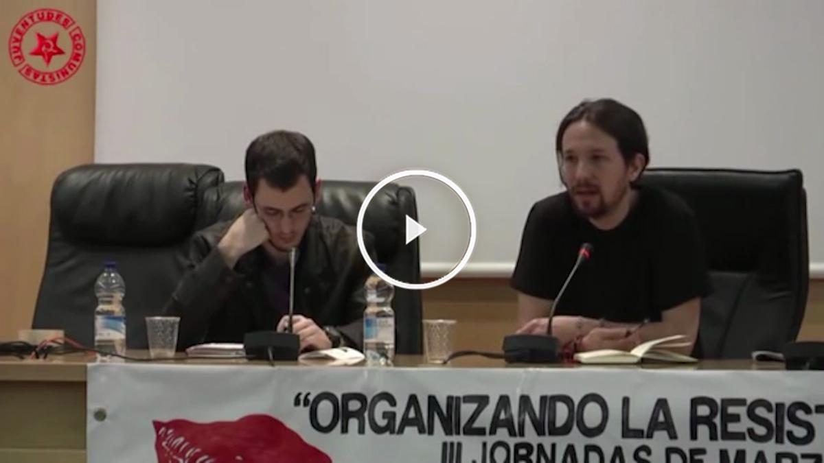 Pablo Iglesias, durante su charla ante las Juventudes Comunistas en Madrid